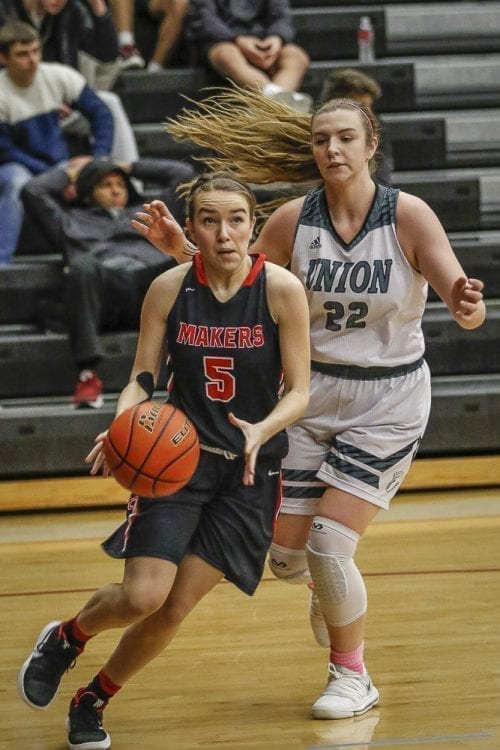 Mason Oberg (3) of Union tries to get past Jillian Webb (5) of Camas during their game Friday. Oberg scored eight points for Union. Camas got the win, though, clinching the 4A GSHL girls basketball title. Photo by Mike Schultz