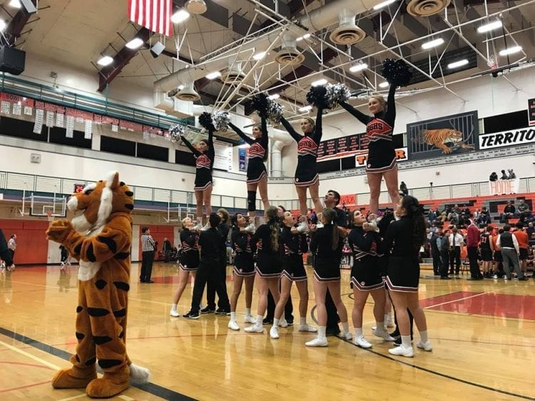 Battle Ground is one of six area squads that will participate in the WIAA state cheerleading championships this weekend at Battle Ground High School. Photo courtesy of Battle Ground Tigers cheerleading.
