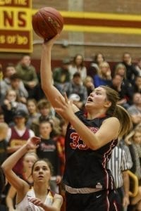 Camas has been led this season by Courtney Clemmer (33), shown here in a game earlier this season against Prairie. Clemmer is averaging 10.5 points and 7.5 rebounds a game. Photo by Mike Schultz