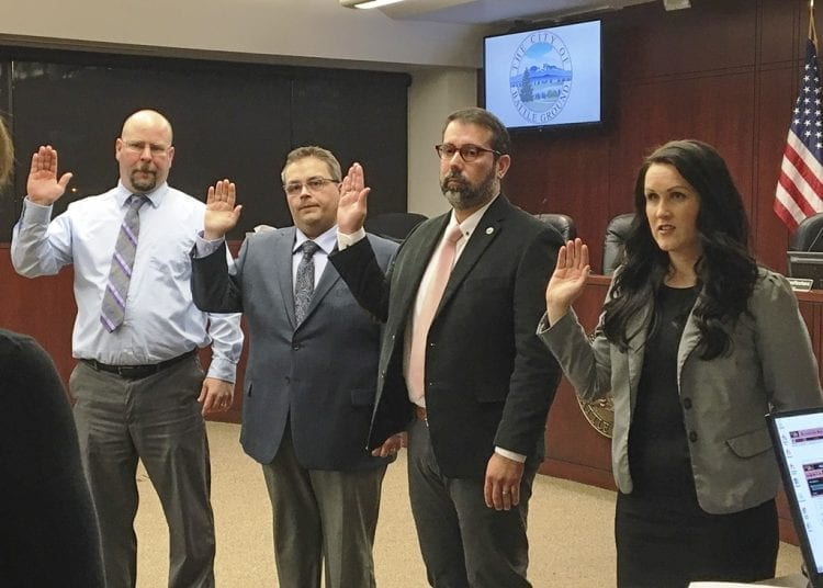 Battle Ground City Council members Brian Munson, Mike Dalesandro, Adrian Cortes and Cherish DesRochers took oaths of office on Tuesday evening, and Dalesandro was appointed by council members to be the new mayor for a two-year term. Photo courtesy of the City of Battle Ground