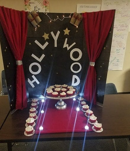 "This Cupcake Wars entry at Ridgefield High School aligns with ""The Movies'' theme. Photo courtesy of Ridgefield School District"