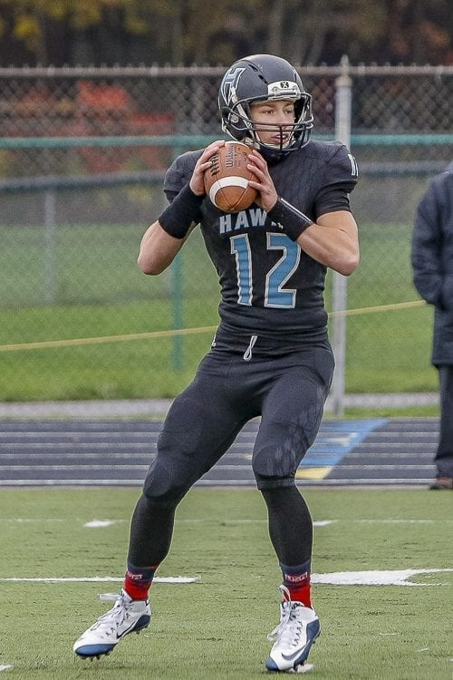 Hockinson's Canon Racanelli (12) was ClarkCountyToday.com's Small School Player of the Year this past season when he led the Hawks to the Class 2A state championship and an undefeated season. Photo by Mike Schultz