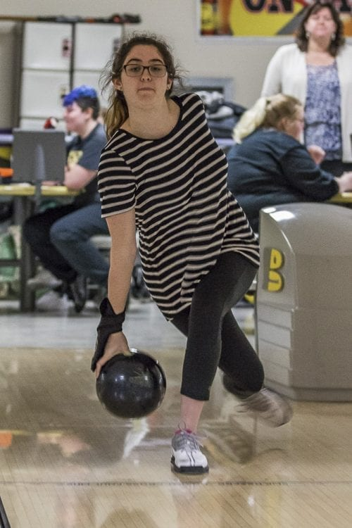 Reagan Lorey is focused in her final high school bowling season, hoping to win a state title as an individual and lead Hudson's Bay to a team title. Photo by Mike Schultz