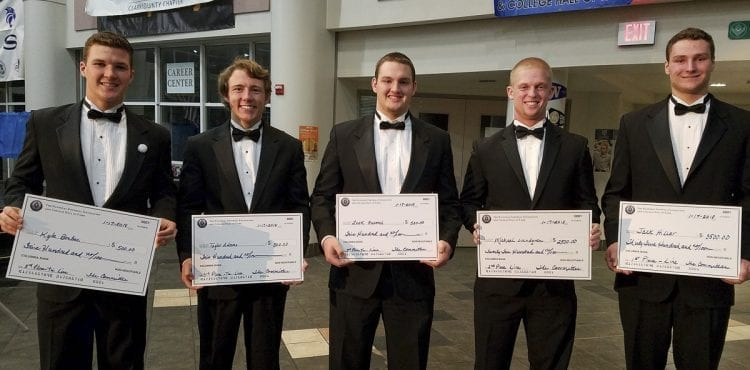 The linemen winners of the 26th annual Scholar-Athlete Awards Banquet for the Clark County chapter of the National Football Foundation and College Hall of Fame: From left to right, Kyle Brabec of Hockinson, Taylor Adams of Camas, Zeek Fromel of Mountain View, Michael Lundgren of Skyview, and Jack Hiller of La Center. Photo by Paul Valencia