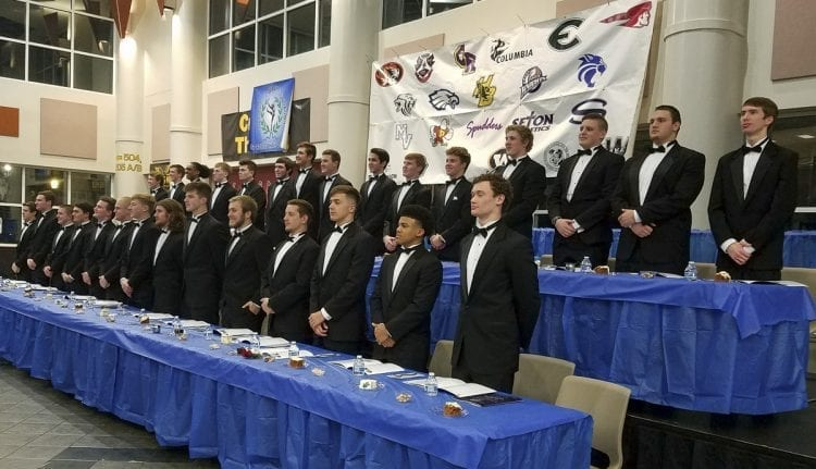 Of the 30 nominees, 29 dressed to the nines and were able to attend Wednesday night's Scholar-Athlete Awards Banquet for the Clark County chapter of the National Football Foundation at Hudson's Bay High School. Photo by Paul Valencia