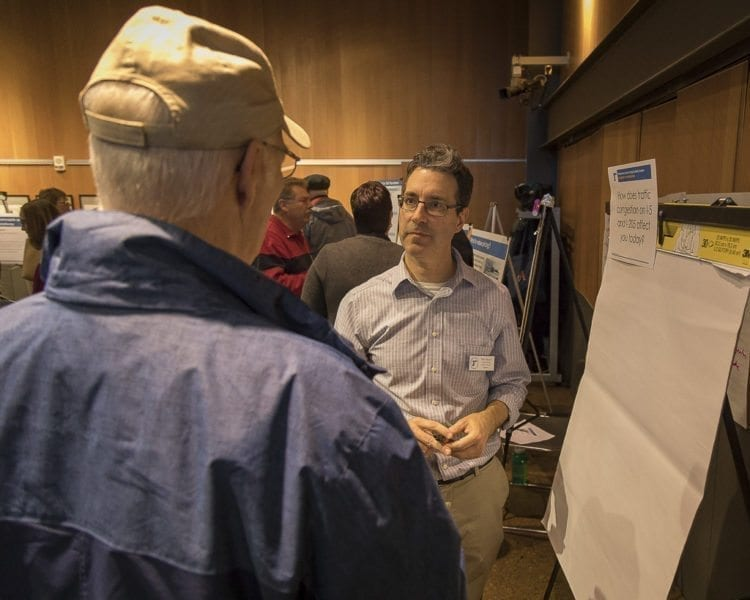 Value Pricing Senior Planner Mike Mason was one of the ODOT officials that attended the open house and was on hand to discuss the proposal with attendees. Photo by Mike Schultz