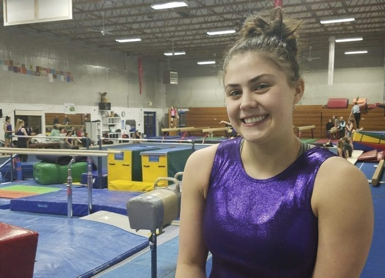 Columbia River senior Sarah Ellis has earned at least one medal at the Class 3A state gymnastics championships in her previous three seasons, including the state title on the balance beam in 2017. She is hoping to make it four years in a row in her final season of high school gymnastics. Photo by Paul Valencia