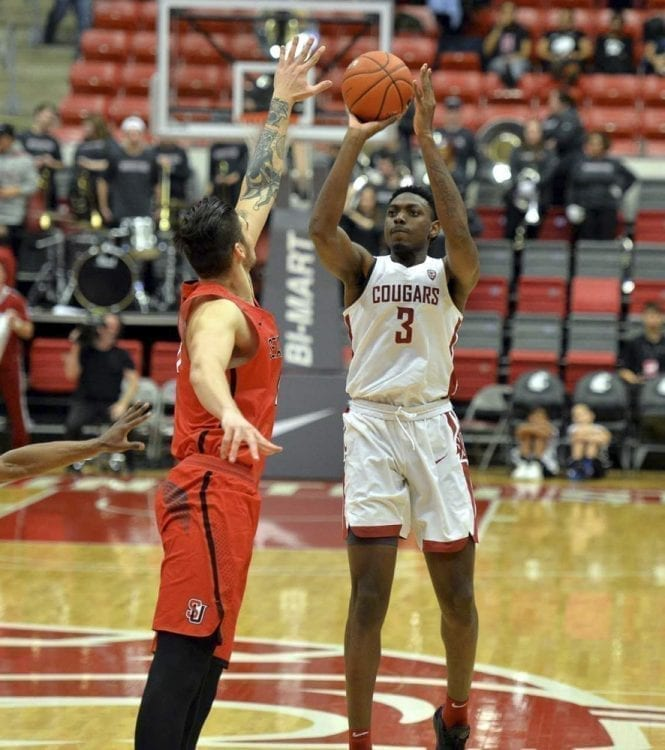 Robert Franks is shooting 49 percent from the floor, including 41 percent from 3-point range, and is leading Washington State in scoring. Photo courtesy of Washington State University