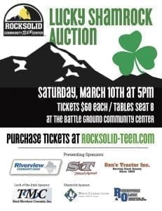 Rocksolid Community Teen Center will hold its 17th annual auction Sat., March 10 at the Battle Ground Community Center. Doors open at 5 p.m.