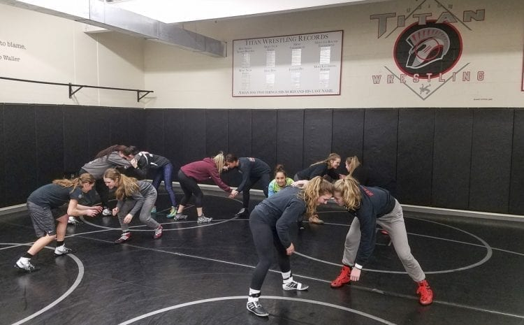The Union girls wrestling squad had five athletes two years ago. Now they are scoring enough points as a team to finish near the top of prestigious tournaments. They are scheduled to compete at the Clark County Wrestling Championships this week at Skyview High School. Photo by Paul Valencia