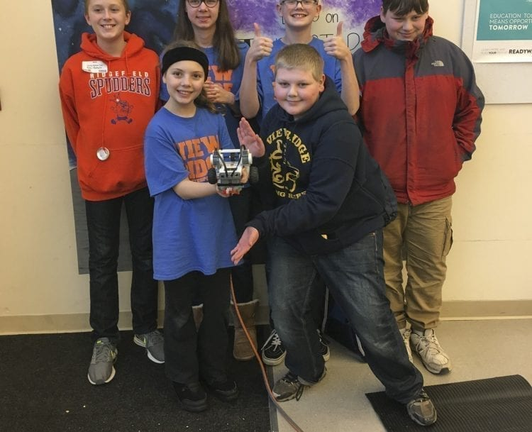 VRMS Rebels Too robotics team (a.k.a. The RoboRebels) are shown here; (back row, (from left) Parker Staker, Mara Schwenneker, Dominic Harris, John Stryker; (front row, from left) Catalina Hagen and Gabriel Thomas. Other team members (not pictured): Olivia DesRochers, Photo courtesy of Ridgefield School District