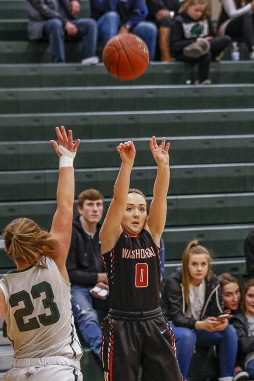 Kiara Cross, one of Washougal's team captains, launches a shot Tuesday against Woodland. The Panthers scored the first 13 points of the game and rolled to another 2A GSHL victory. Photo by Mike Schultz