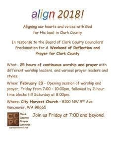 "In response to a proclamation by the Board of County Councilors, local faith group Clark County Prayer Connect will host a 25-hour session of continuous prayer for Clark County called ""Align 2018!"" that will encourage prayer for the county and its leaders. Photo courtesy of Clark County Prayer Connect"