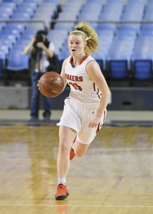 Camas guard Haley Hanson made three 3-pointers and scored 10 points, helping the Papermakers make it to the state quarterfinals. Camas beat league-rival Union 53-39 in an elimination game at the Class 4A girls basketball tournament in the Tacoma Dome. Photo courtesy of Kris Cavin