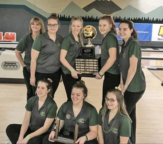 Evergreen is getting used to celebrating at state bowling. This is the second consecutive team title for the Plainsmen. Photo courtesy of Kerissa Andersen