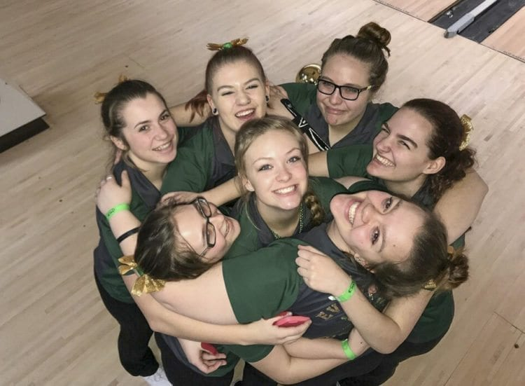 The Evergreen Plainsmen won their second consecutive Class 3A state team bowling title Saturday in University Place. Evergreen scored higher than any team in any classification this season. Photo courtesy of Kerissa Andersen