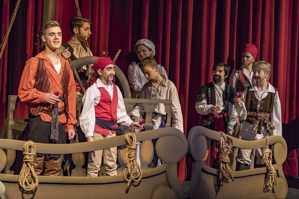 "Journey Theater Arts Group's production of ""The Pirates of Penzance Jr."" follows the misadventures of pirate apprentice Frederic, played by Cameron Sears (left) and a band of well meaning pirates as they fathom romance, honor and duty in a musical comedy production. Photo by Mike Schultz"