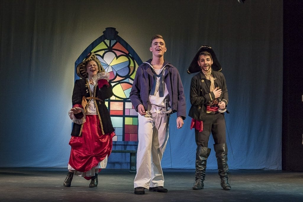 "Many students in Journey Theater Arts Group love the opportunity to bring their character to life. The rich expressions and acting talent in Journey Theater is showcased by Abbie Lehman as Ruth, Cameron Sears as Frederic and William Aamold as the Pirate King in ""The Pirates of Penzance Jr."" Photo by Mike Schultz"