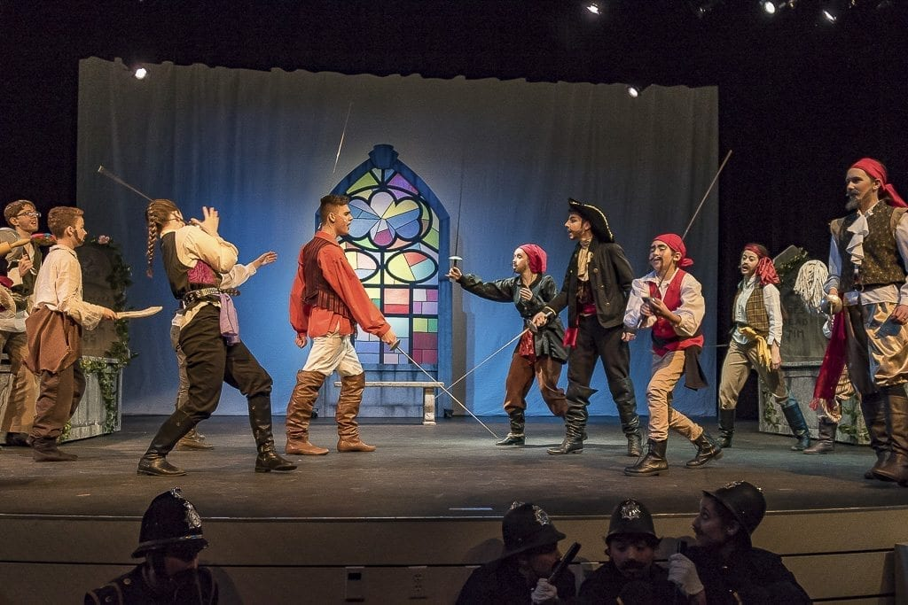 "What is a play about pirates without swordplay? ""The Pirates of Penzance Jr. by Journey Theater Arts Group features singing, dancing, acting and yes, the required touch of sword fighting. Photo by Mike Schultz"