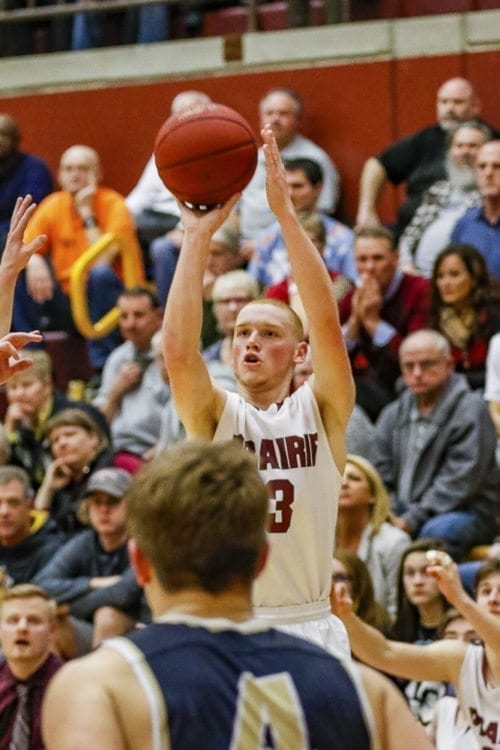 Prairie junior Kameron Osborn scored 27 points Friday night, leading the Falcons to a 64-55 win over Kelso. Prairie tied Kelso for the Class 3A Greater St. Helens League title. Photo by Mike Schultz