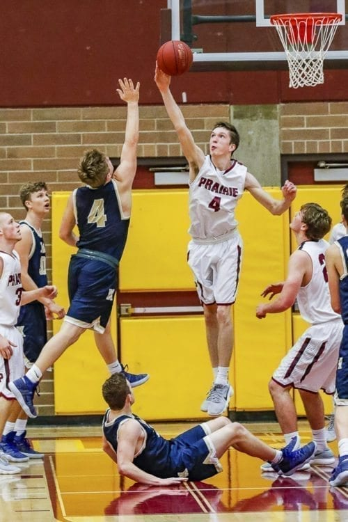 Prairie senior Braiden Broadbent blocked five shots and also scored 14 points as Prairie earned a co-league title with a 64-55 win over Kelso on Friday night. Photo by Mike Schultz