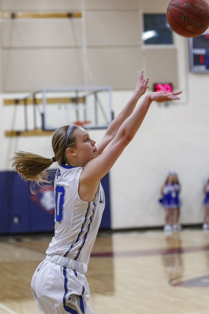 La Center's Molly Edwards, shown here earlier this season, tied a state record by making seven 3-pointers in Wednesday's win over Freeman. She finished with 22 points. Photo by Mike Schultz