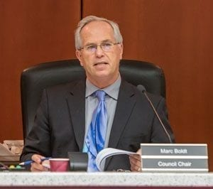 County Chair Marc Boldt and his fellow councilors announced Wednesday that their search for a new county manager will be restarted. Photo by Mike Schultz