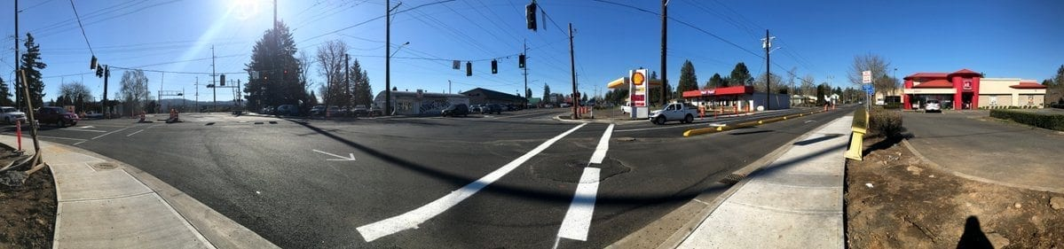 The 32nd Street & Evergreen Way project in Washougal nears completion, with final paving set for this Spring. Photo courtesy of city of Washougal