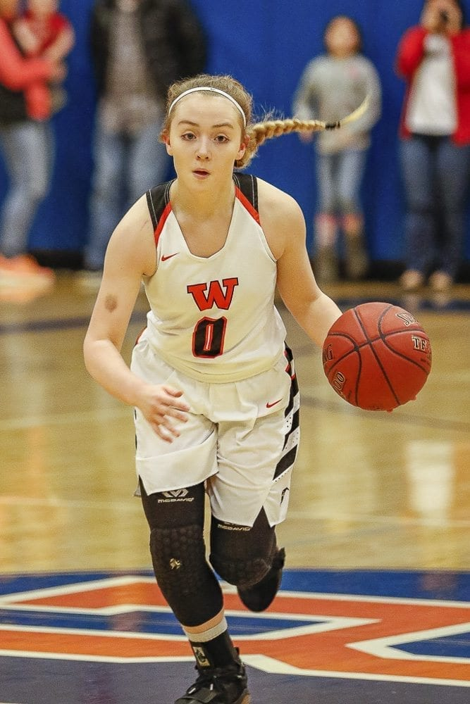 Kiara Cross (0) scored 10 of her 13 points in the third quarter Wednesday when Washougal pulled away from Mark Morris in an elimination game in the Class 2A District 4 tournament. Photo by Mike Schultz