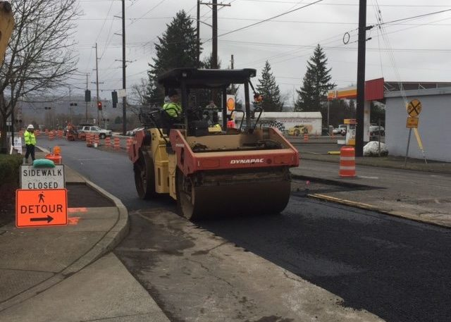 Construction Crews are shown here at work improving 32nd Street at Evergreen Way in Washougal. Photo courtesy city of Washougal