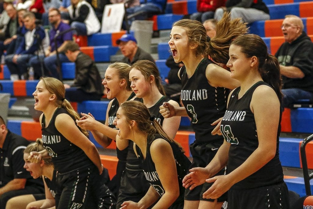 The Woodland bench reacts to another big moment for the Beavers in Wednesday's elimination game. Woodland rallied in the fourth quarter to beat Columbia River 40-34. Photo by Mike Schultz