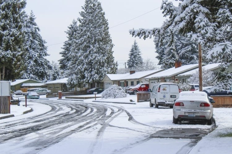 With more snow expected overnight Wednesday, Clark County Public Works is rearranging schedules for road crews to provide around-the-clock response to streets such as NE 87th Ave. in Vancouver (shown here). Photo by Alex Peru