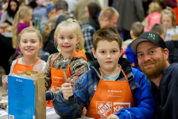 Longview's Home Depot store donated 280 wood-block calendar kits as well as kid-sized Home Depot aprons for the attendees. Photo courtesy of Woodland Public Schools
