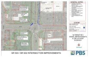 This PDF shows several options for eventual traffic improvements at the SR-503/502 interchange in Battle Ground. Document Courtesy PBS Engineering and Environmental Inc.