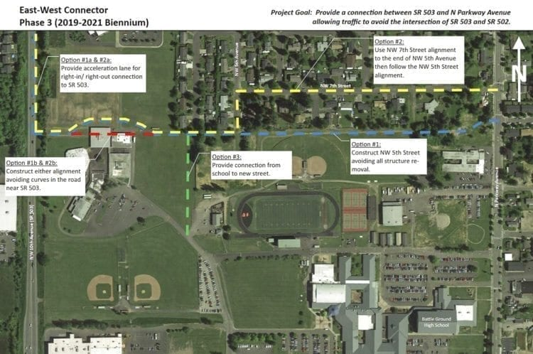 The SW 5th Way Extension would cut through Battle Ground High School property. Photo courtesy City of Battle Ground