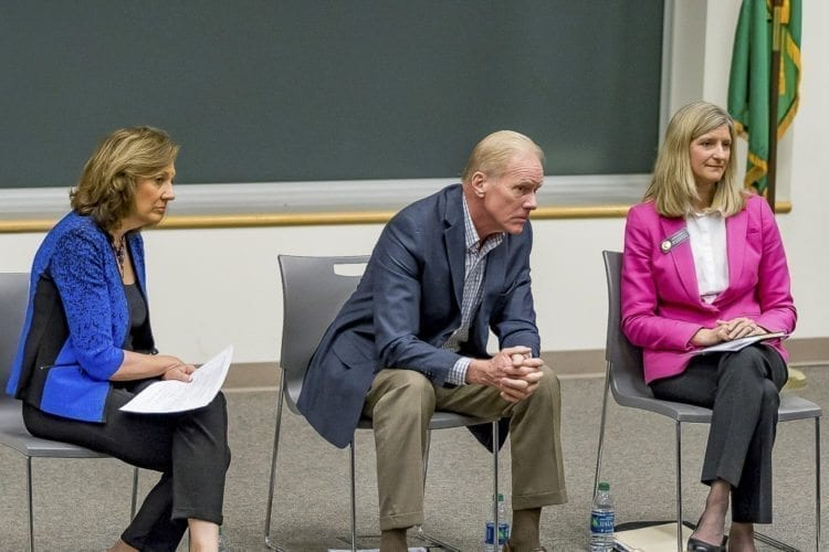 Senator Lynda Wilson, Rep. Paul Harris, and Rep. Vicki Kraft speak at a town hall meeting at WSU Vancouver Saturday. Photo by Mike Schultz