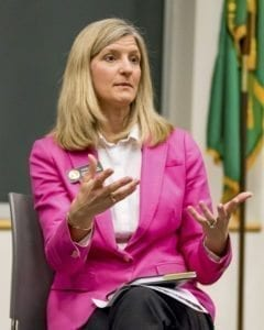 Representative Vicki Kraft speaks at a town hall meeting for the 17th Legislative District at WSU Vancouver Saturday. Photo by Mike Schultz