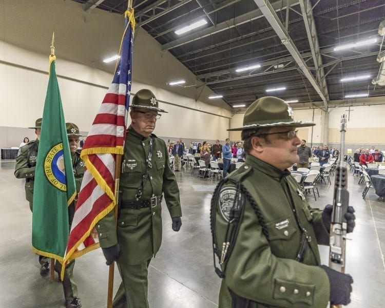 The Clark County Sheriff's Color Guard opens the 2018 State of the County Address at the Clark County Fairgrounds. Photo by Mike Schultz