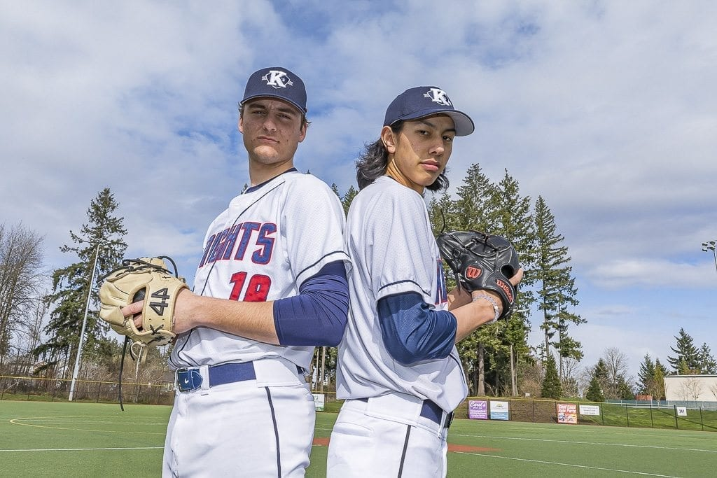 Damon Casetta-Stubbs (left) and Sam Lauderdale combined forces last season to lead the King's Way Christian Knights to the Class 1A state baseball title. Perfect Game selected the two of them to be on the Northwest Dream Team in previewing this season. Photo by Mike Schultz