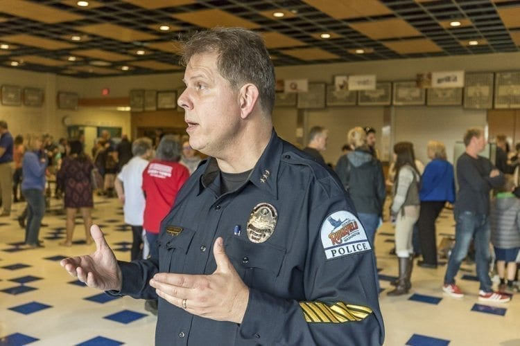 Ridgefield Police Chief John Brooks is shown here at Wednesday's Ridgefield School Safety Open House. Photo by Mike Schultz