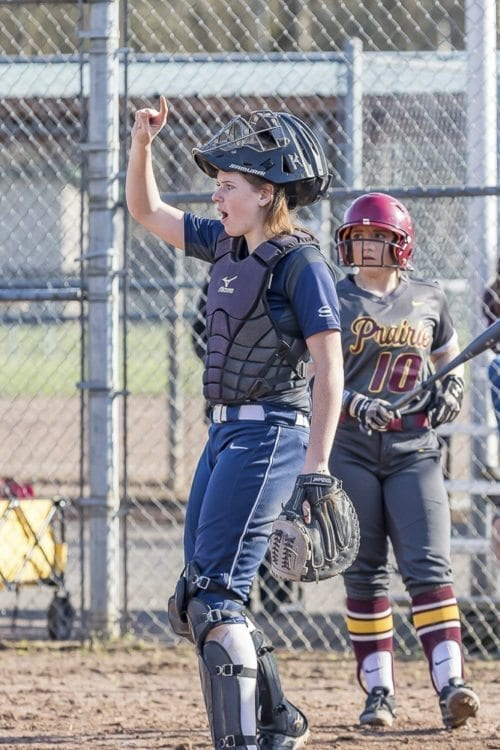 Abby Fischer of Skyview signals to her teammates during a recent game. Fischer has a strong work ethic on and off the field. A Division-I signee, she also is a member of the National Honor Society and excels in science. Photo by Mike Schultz