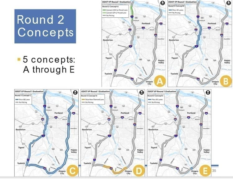 Five options are currently being considered for tolling on I-5 and I-205 in the Portland area. Photo courtesy Oregon Department of Transportation