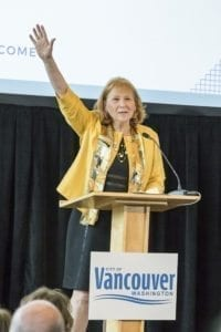 Vancouver Mayor Anne Mcenerny-Ogle thanks the crowd following her first State of the City address. Photo by Mike Schultz