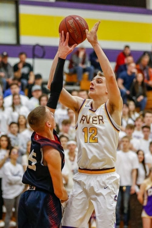 Jacob Hjort of Columbia River, shown here earlier this season, was voted to the all-tourney team after helping the Chieftains place sixth at the 2A tournament in Yakima. Photo by Mike Schultz