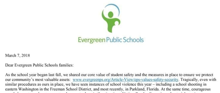 Evergreen School District Walk Out Statement. Click to view PDF