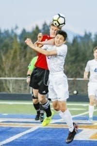 Camas' Tanner Thorson (in red) and Ridgefield's Sebastian Interian catch some air in their non-league soccer match Monday night. Photo by Mike Schultz