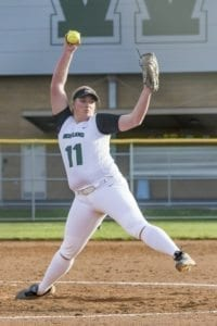Woodland pitcher Olivia Grey struck out 13 and threw a no-hitter in her debut with the Beavers as Woodland beat Prairie 4-0 Monday. Photo by Mike Schultz