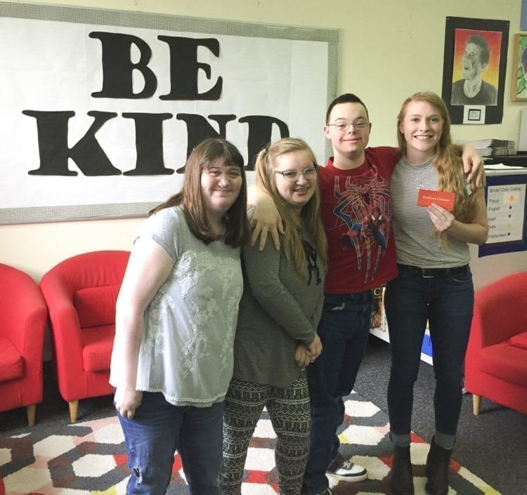 Alyssa Chapin (far right) serves as a peer tutor with Hockinson High School students, including Melany Mathieu, Molly Isaacson and Joshua Pool (shown here, left to right). Photo courtesy of Hockinson School District