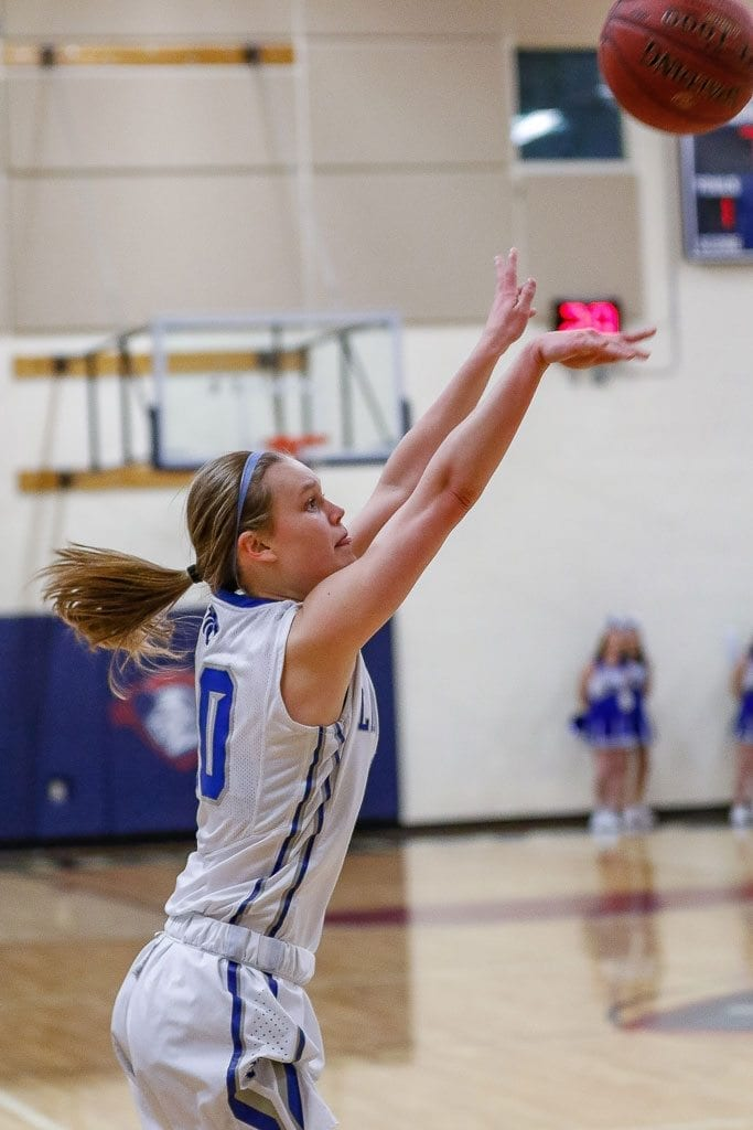Molly Edwards, of La Center, shown here earlier in the season, had the hot hand last week in the Yakima Valley SunDome. She made seven 3-pointers in one game, tying a Class 1A state tournament record. Photo by Mike Schultz