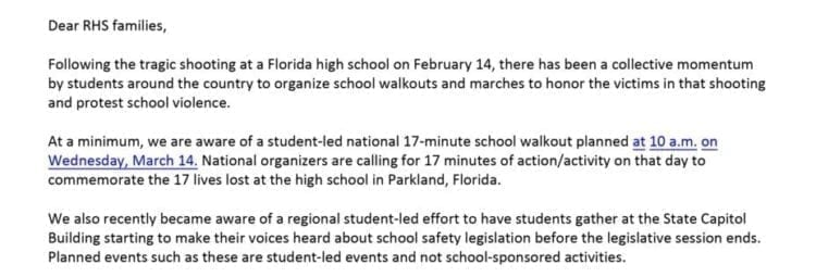 Ridgefield School District Walk Out Statement. Click to view full PDF
